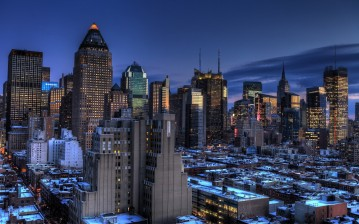 New york, manhattan, midtown, usa, Blue hour, нью-йорк обои