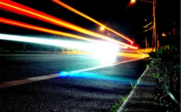 Night, road, lights обои