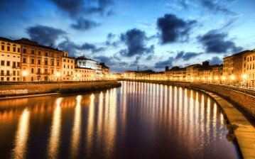 Пиза, Italy, pisa, ночь, night, river arno, италия обои