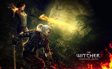 Геральт и Трисс в лесах Флотзама, игровые The Witcher 2: Assassins King обои