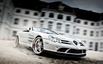 Brabus exclusive sport program, mercedes-benz slr roadster mclaren, white auto обои, картинки, фото