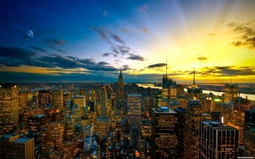 New york city, sunset, skyscrapers обои