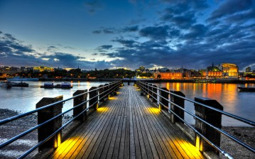 England, twilight, uk, англия, лондон, Thames pier, thames, river, london обои