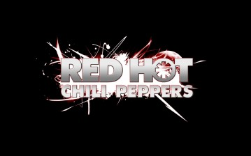 Red hot chili peppers, название, шрифт, искры, фон обои