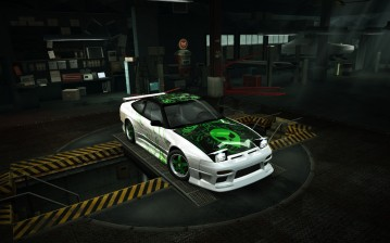 Nfs, world, 240sx, nissan, s13, game, ufo, green обои
