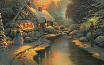 Christmas evening, new year, thomas kinkade, christmas, Пейзажи обои, картинки, фото